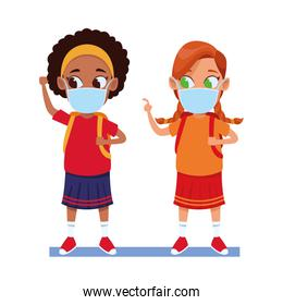 interracial girls using face masks for covid19