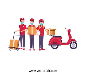 delivery workers with face masks in motorcycle and cart