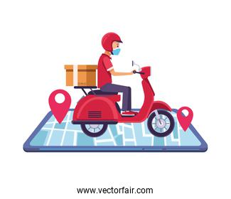 phone with delivery worker using face mask in motorcycle
