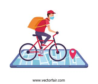 smartphone with delivery application and worker in bicycle