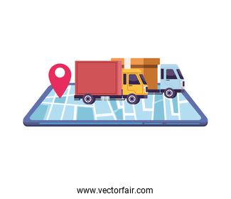 smartphone with delivery application and trucks
