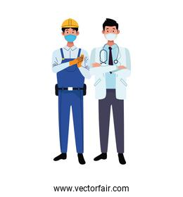 male workers using face masks for covid 19