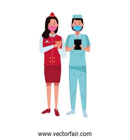 female workers using face masks for covid19
