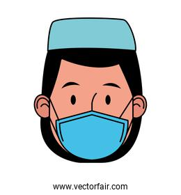 nurse female worker using face mask for covid19