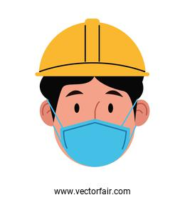 builder worker using face mask for covid 19