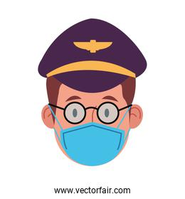 pilot worker using face mask for covid 19