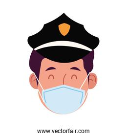 police worker using face mask for covid 19