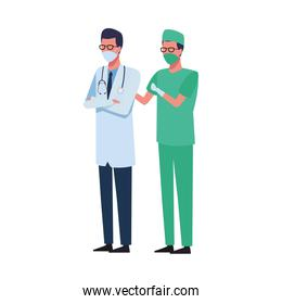 surgeon and doctor using face mask for covid 19