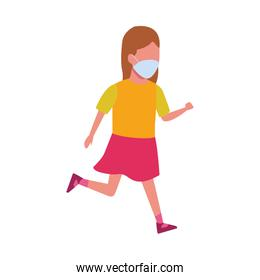 young girl using face mask for covid19