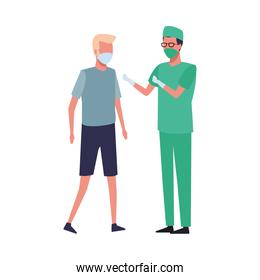 surgeon and man using face mask for covid 19