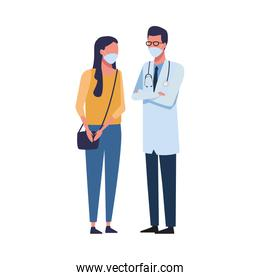 doctor worker with woman using face mask for covid 19