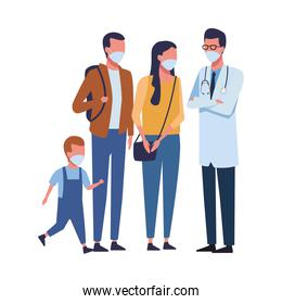 doctor with family using face mask for covid 19