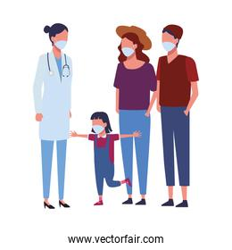 doctor female with family using face mask for covid19