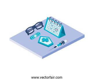 medical and vaccination equipment icons