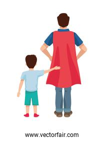 dear father with hero cloak and son