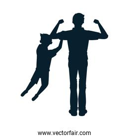 dear father with son avatars silhouettes