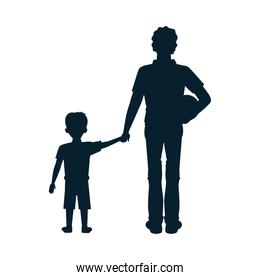 dear father with soccer balloon and son silhouettes