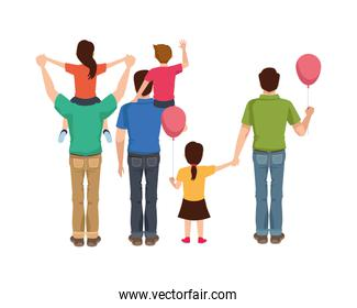 dear fathers with kids and balloons helium