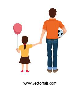 dear father with soccer balloon and daughter