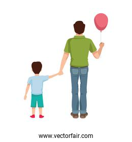 dear father with balloon helium and son
