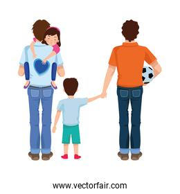 dear fathers with soccer balloon and kids