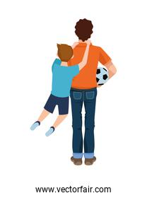 dear father with soccer balloon and son