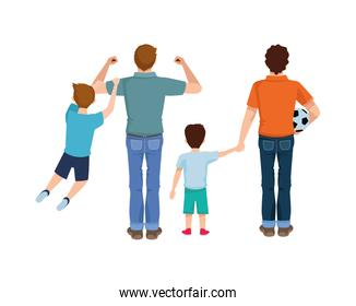 dear fathers with soccer balloon and sons