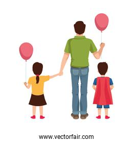 dear father with balloon helium and kids