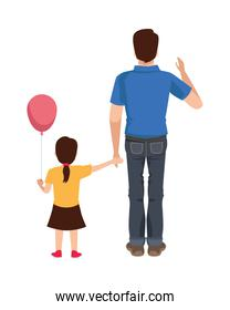 dear father with balloon helium and daughter