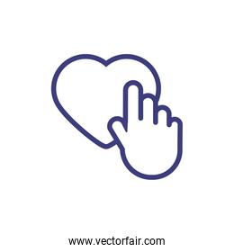Isolated heart and hand vector design