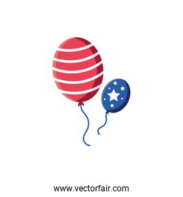 Isolated usa flag balloons vector design