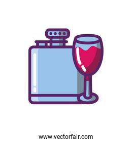 Isolated wine cup and bottle vector design