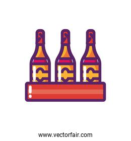 Isolated wine bottles vector design