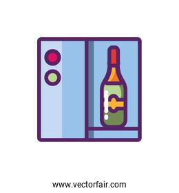 Isolated wine bottle and machine vector design
