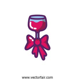 Isolated wine cup with bowtie vector design