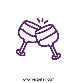 Isolated wine cups vector design