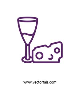 Isolated wine cup and cheese vector design