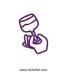 Isolated hand with wine cup vector design