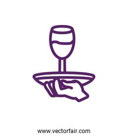 Isolated wine cup over plate vector design