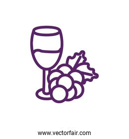 Isolated wine cup with grapes vector design