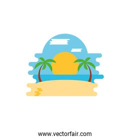 Isolated beach with palm trees vector design