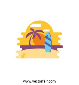 Isolated beach and surfboard vector design