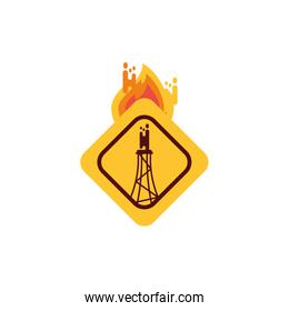 Isolated refinery banner and flame vector design