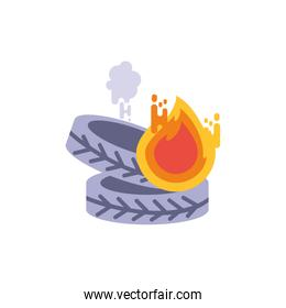 Isolated tires with smoke and fire vector design