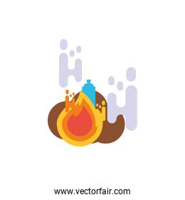 Isolated water bottle with flame vector design