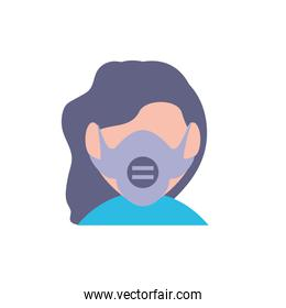Isolated woman with mask vector design