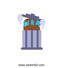 Isolated trash with smoke vector design