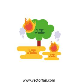 Isolated tree with flames and smoke vector design