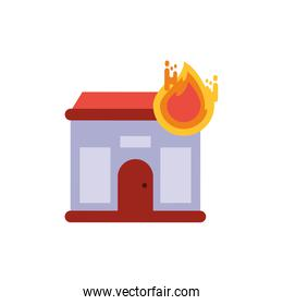 Isolated house with flame vector design