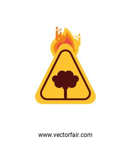 Isolated tree banner with flame vector design